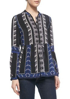 12th Street by Cynthia Vincent Printed Lantern-Sleeve Blouse