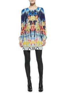 12th Street by Cynthia Vincent Printed Long-Sleeve Silk Mini Dress