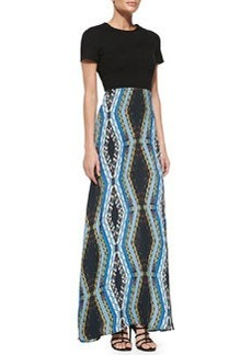 12th Street by Cynthia Vincent Scuba-Top Combo Maxi Dress