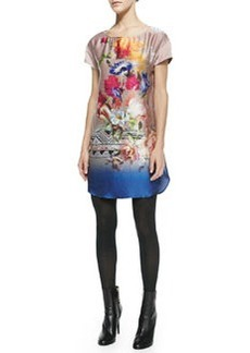 12th Street by Cynthia Vincent Silk Printed Short-Sleeve Mini Dress