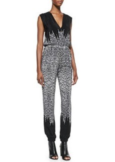 12th Street by Cynthia Vincent Silk Surplice V-Neck Jumpsuit