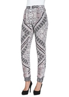12th Street by Cynthia Vincent Snakeskin-Print Jogger Pants