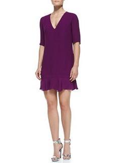 12th Street by Cynthia Vincent V-Neck Flounce Mini Dress