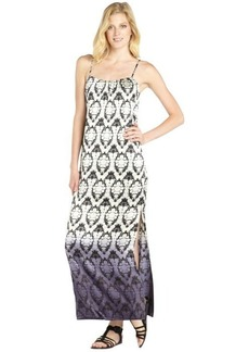 Twelfth St. By Cynthia Vincent black and ivory silk blossom pattern printed side split maxi dress