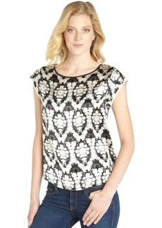 Twelfth St. By Cynthia Vincent black and ivory silk blossom printed short sleeve blouse