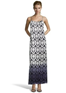 Twelfth St. By Cynthia Vincent black and ivory silk blossom printed side split maxi dress