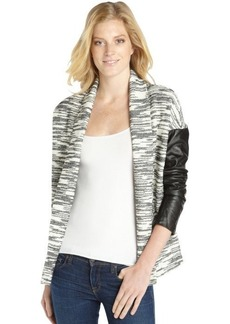 Twelfth St. By Cynthia Vincent black and white cotton blend knit leather sleeve cardigan