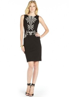 Twelfth St. By Cynthia Vincent black jersey tribal sheath dress