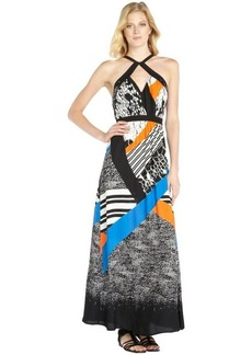 Twelfth St. By Cynthia Vincent blue and black printed woven front cross maxi dress