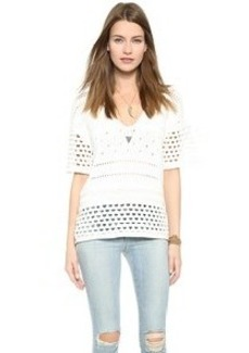 Twelfth St. by Cynthia Vincent Deep V Crochet Pullover