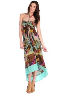 Twelfth St. By Cynthia Vincent Parrot Scarf Halter Dress