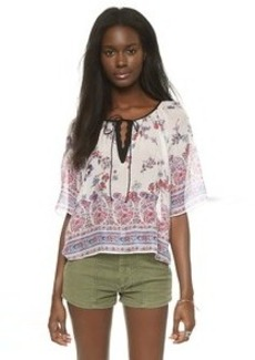 Twelfth St. by Cynthia Vincent Peasant Crop Top