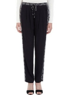 Twelfth Street by Cynthia Vincen Abstract-Print Tuxedo-stripe Pants