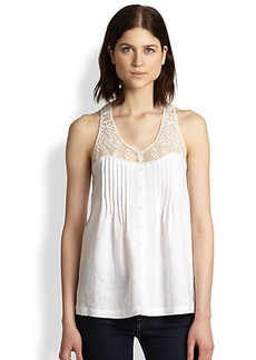 Twelfth Street by Cynthia Vincent Cotton & Silk Embroidered Mesh-Yoke Tank
