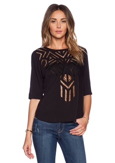 Twelfth Street By Cynthia Vincent Cut-Out Embroidered Tee