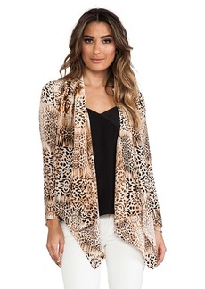Twelfth Street By Cynthia Vincent Drape Front Jacket in Brown