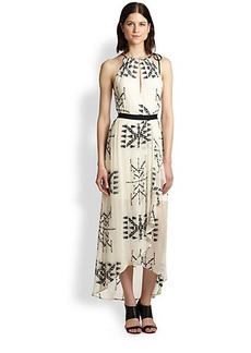 Twelfth Street by Cynthia Vincent Embroidered Silk Chiffon Maxi Dress