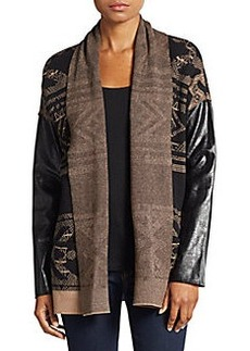 Twelfth Street by Cynthia Vincent Faux Leather-Sleeved Cotton & Cashmere Cardigan