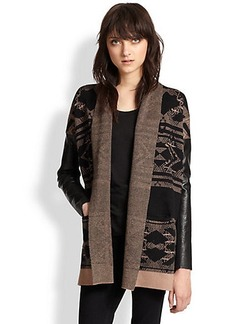 Twelfth Street by Cynthia Vincent Faux Leather-Sleeved Cotton & Cashmere Sleeve