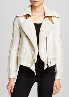 Twelfth Street by Cynthia Vincent Jacket - Cable Knit Faux Shearling Lined Moto