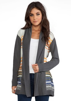 Twelfth Street By Cynthia Vincent Knit Stripe Log Cabin Cardigan in Gray