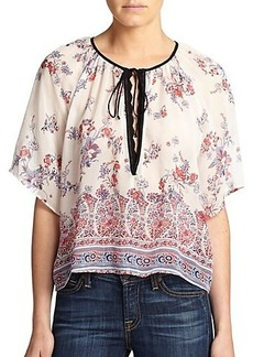 Twelfth Street by Cynthia Vincent Silk Floral Peasant Top