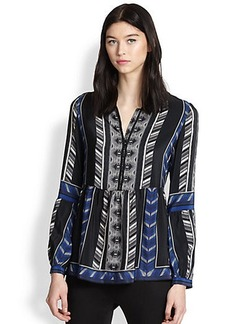 Twelfth Street by Cynthia Vincent Silk Printed Peplum Blouse