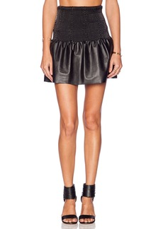 Twelfth Street By Cynthia Vincent Smocked Waist Leather Skirt