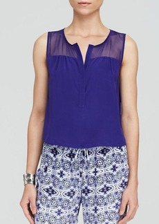 Twelfth Street by Cynthia Vincent Top - Sheer Yoke Button Back Crop