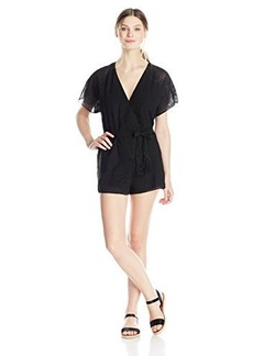 Twelfth Street by Cynthia Vincent Women's Embroidered Flutter-Sleeve Romper