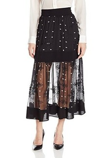 Twelfth Street by Cynthia Vincent Women's Embroidered Silk Tiered Maxi Skirt