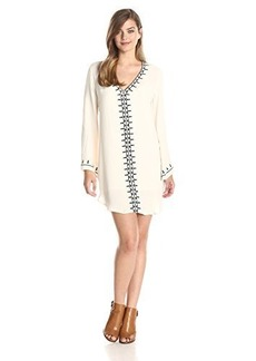 Twelfth Street by Cynthia Vincent Women's Long Sleeve Embroidered Caftan Dress
