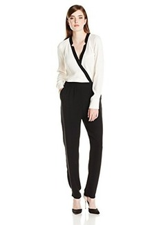 Twelfth Street by Cynthia Vincent Women's Notched-Collar Color-Block Jumpsuit