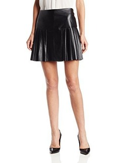Twelfth Street by Cynthia Vincent Women's Pleated Faux-Leather Flared Skirt