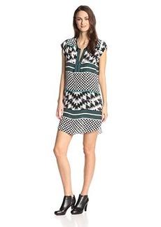 Twelfth Street by Cynthia Vincent Women's Polka Dot Stripe Short Sleeve Dress