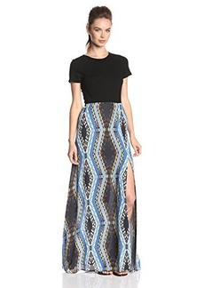 Twelfth Street by Cynthia Vincent Women's Royal Chevron Combo Maxi Dress