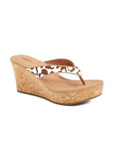 UGG Australia 'Natassia' Calf Hair Wedge Sandal (Women)