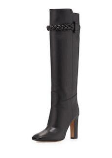 Calfskin Braided Strap Knee Boot, Black   Calfskin Braided Strap Knee Boot, Black