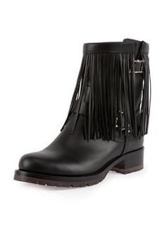 Fringe Leather Biker Boot, Black   Fringe Leather Biker Boot, Black