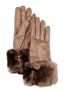 Fur-Trimmed Pyramid Stud Leather Gloves, Mauve (Brown)   Fur-Trimmed Pyramid Stud Leather Gloves, Mauve (Brown)