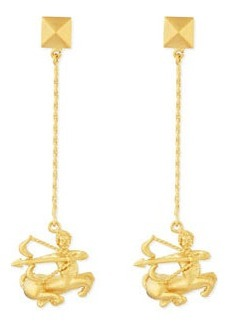 Golden Sagittarius Zodiac Earrings   Golden Sagittarius Zodiac Earrings