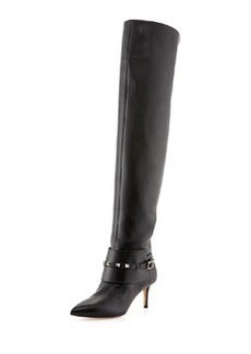 Rockstud Low-Heel Over-The-Knee Boot, Black   Rockstud Low-Heel Over-The-Knee Boot, Black