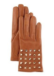 Rockstud-Sleeve Leather Gloves, Camel   Rockstud-Sleeve Leather Gloves, Camel
