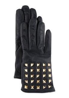 Rockstud-Sleeve Leather Gloves, Dark Gray   Rockstud-Sleeve Leather Gloves, Dark Gray