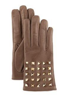 Rockstud-Sleeve Leather Gloves, Mauve   Rockstud-Sleeve Leather Gloves, Mauve