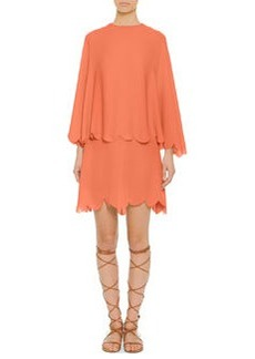 Scalloped Tiered Capelet Dress, Coral   Scalloped Tiered Capelet Dress, Coral