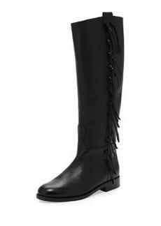Side Fringe Flat Knee Boot, Black   Side Fringe Flat Knee Boot, Black