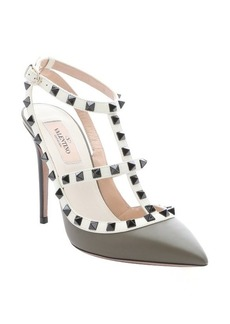 Valentino army green and ivory leather 'Rockstud' t-strap pumps