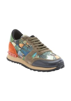 Valentino army green and orange leather butterfly camo sneakers