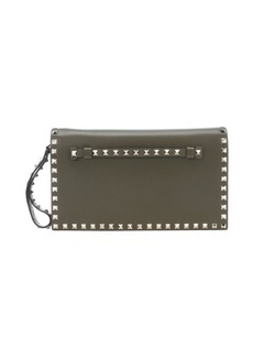 Valentino army green leather 'Rockstud' studded clutch